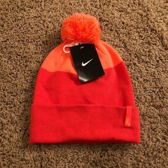 New Nike Womens Pom Pom Beanie Hat Pink